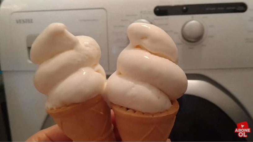 Şok Çamaşır Makinesinde Dondurma Yapılışı 1